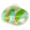 Glass Lamp Bead 18x13mm Oval Green/Gold